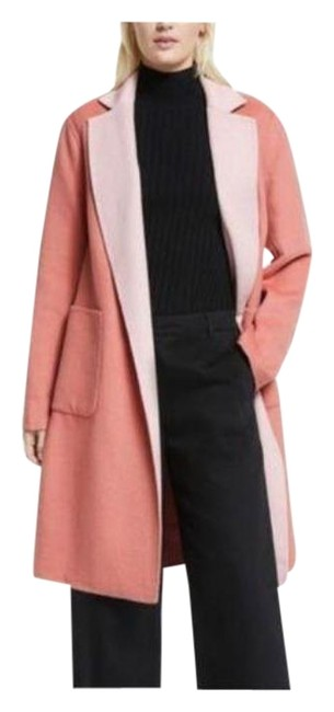 Item - Pink Orange Reversible Wool Blend Wrap Coral Small Coat Size 4 (S)
