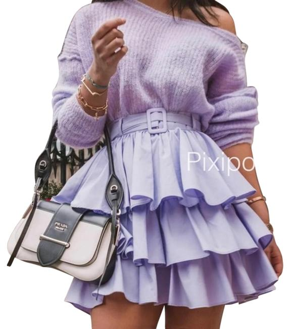 Item - Purple Belted Ruffled Bloggers Skirt Size 8 (M, 29, 30)