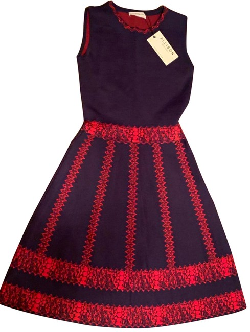 Item - Blue Knit Fit Flare Navy Red A-line Skater Circle Sleeveless Small Short Casual Dress Size 4 (S)