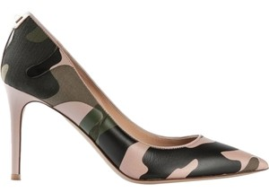 Valentino Khake Green Leather and Canvas Camoflague Pumps