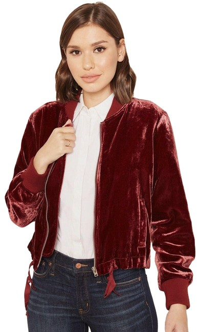 Item - Red Velour Bomber Jacket Size 00 (XXS)