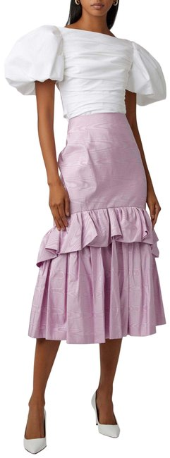 Item - Pink 38 Tiered Ruffled Silk Skirt Size 6 (S, 28)