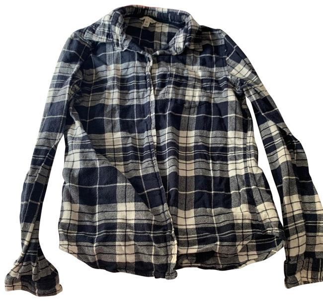 Blue and White Checkered Flannel Small For The Fall and And Octoberfest Great For Farmer Costume Button-down Top Size 6 (S) Blue and White Checkered Flannel Small For The Fall and And Octoberfest Great For Farmer Costume Button-down Top Size 6 (S) Image 1