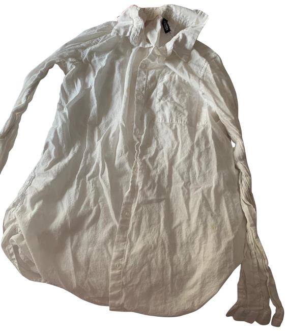 White Button Down Dress Small. Small Stains Throughout As Seen In Pics. The Is Great To Fair As Part Of A Blouse Size 4 (S) White Button Down Dress Small. Small Stains Throughout As Seen In Pics. The Is Great To Fair As Part Of A Blouse Size 4 (S) Image 1