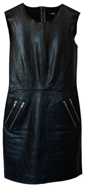 Item - Black Sleeveless Leather Front Zippers 36 Mid-length Short Casual Dress Size 2 (XS)