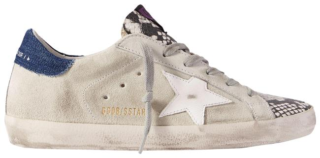 Item - Gray Superstar Denim-trimmed Distressed Snake-effect Leather and Suede Sneakers Size EU 36 (Approx. US 6) Regular (M, B)