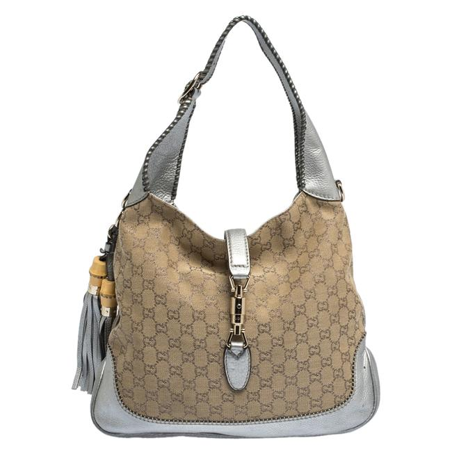 Item - Jackie Beige/Silver Medium New Beige/Silver Gg Canvas and Leather Hobo Bag