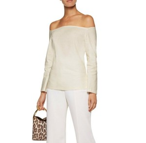 Item - White Aprine Off-the-shoulder Stretch Linen Blouse