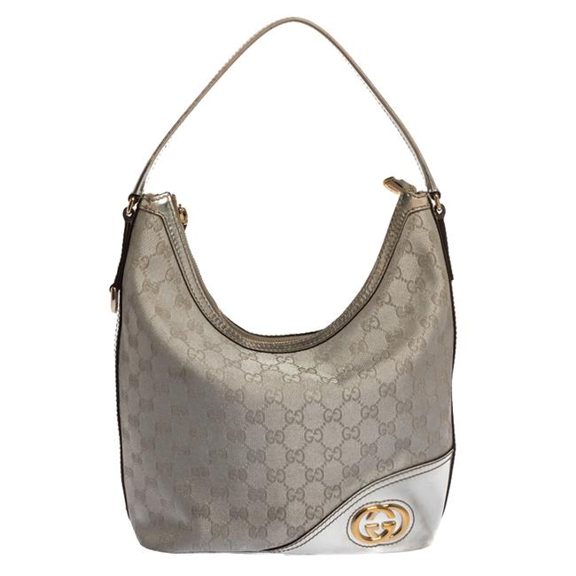 Item - Britt New Silver Gg Canvas and Leather Hobo Bag