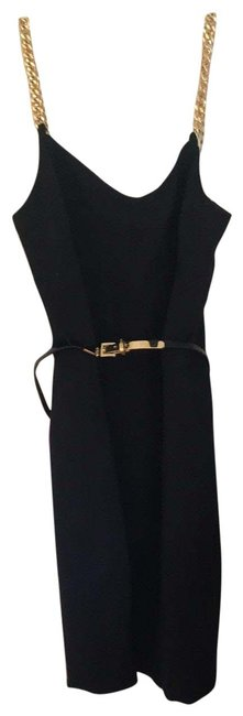 Item - Black/Gold Chain Mid-length Night Out Dress Size 6 (S)