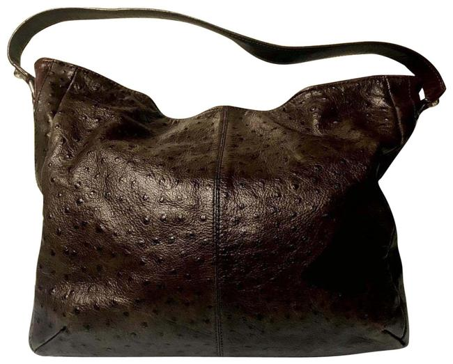 Item - Ostrich Embossed Brown Leather Hobo Bag