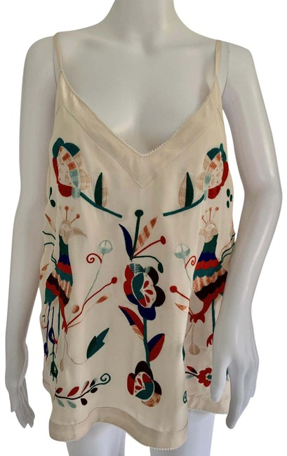 Item - Multi Color All Silk Peacock Floral Embroidered Tank Top/Cami Size 12 (L)