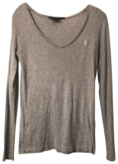 Item - Gray with White Horse V Neck Tee Shirt Size 12 (L)
