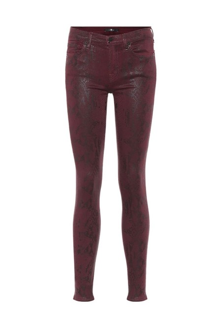 Item - Red Coated The Snake-print Skinny Jeans Size 6 (S, 28)