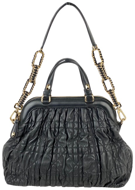 Item - Quilted Gaufre Cannage Delices B230 Black Lambskin Leather Tote