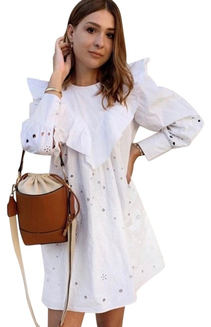 Item - White Ruffled Openwork Embroidery Short Casual Dress Size 8 (M)