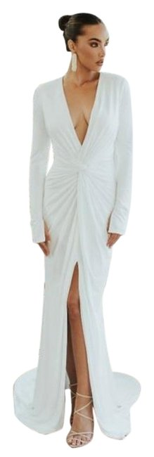 Item - White Noel and Jean Empire Sleeve Trumpet Long Formal Dress Size 8 (M)