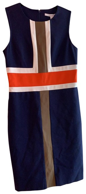 Item - Dark Blue White and Orange Short Casual Dress Size 4 (S)