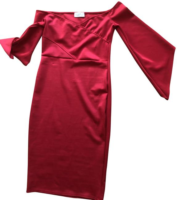 Item - Red Bardot Detail Flute Sleeve Mid-length Cocktail Dress Size 10 (M)