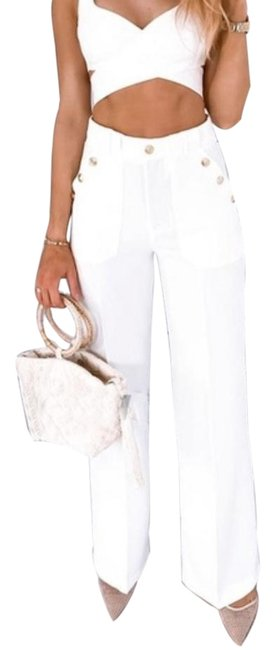 Item - White High Rise Gold Buttoned Trousers Pants Size 16 (XL, Plus 0x)