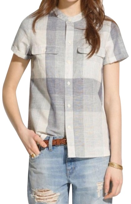 Item - Gray White A4538 Short-sleeve Shirt In Screendoor Plaid Button-down Top Size 4 (S)