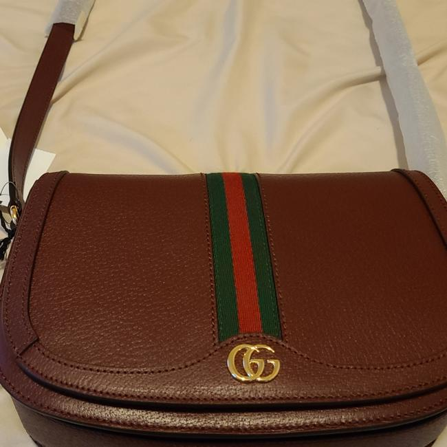 Item - New Ophidia Web Strip Burgundy Red Green Red Gold Leather Cross Body Bag