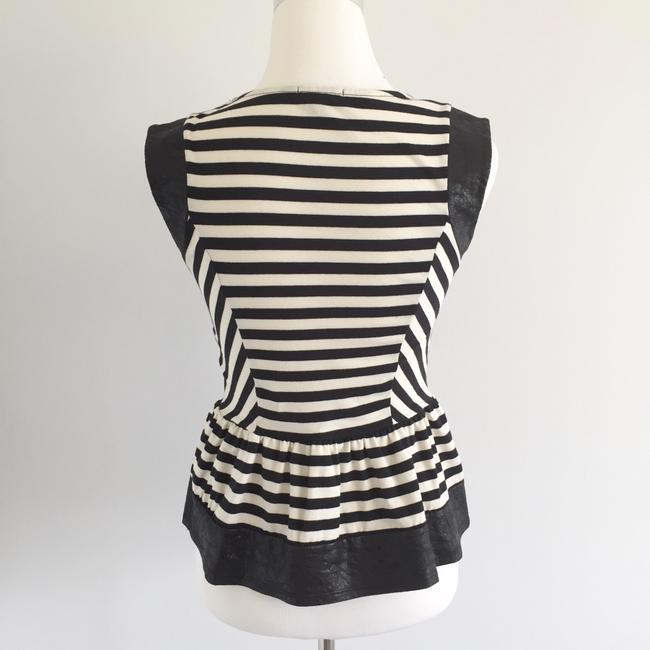 Modcloth Striped Faux Leather Peplum Top Black, White