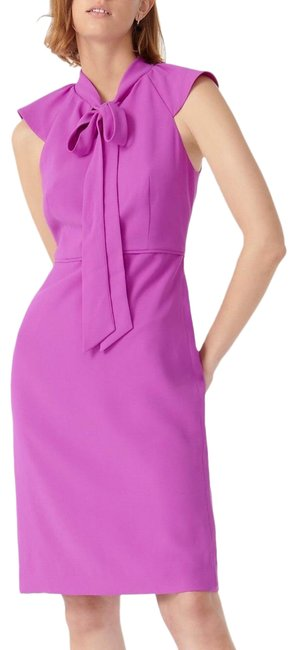Item - Violet Tie Front Sheath In 365 Crepe Poly Lined Mid-length Work/Office Dress Size 6 (S)