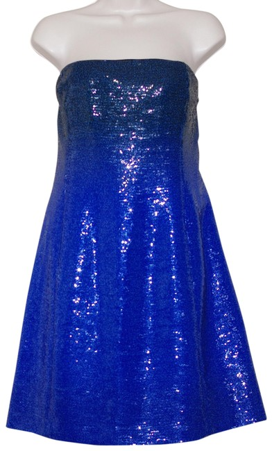 Item - Royal Blue Sequned Sleeveless Short Cocktail Dress Size 6 (S)