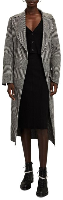 Item - Black Fiorito Houndstooth Wool Wrap Coat Size 6 (S)