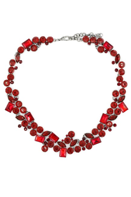Item - Red Square Round Crystal Necklace