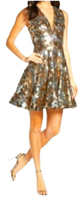 Item - Gold Silver Multi Ninia Sequin Fit Flare New Short Cocktail Dress Size 8 (M)