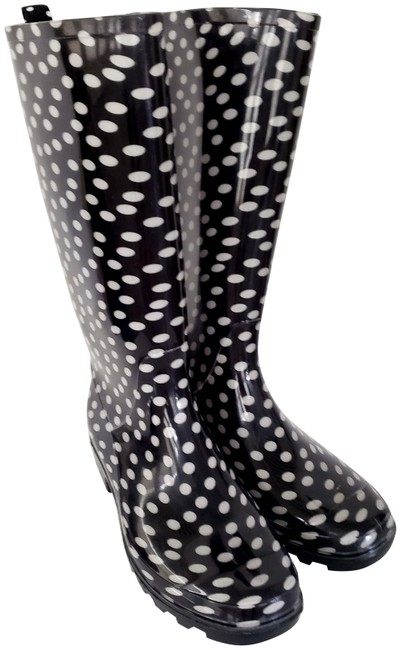 Item - Black and White Polka Boots/Booties Size US 7 Regular (M, B)