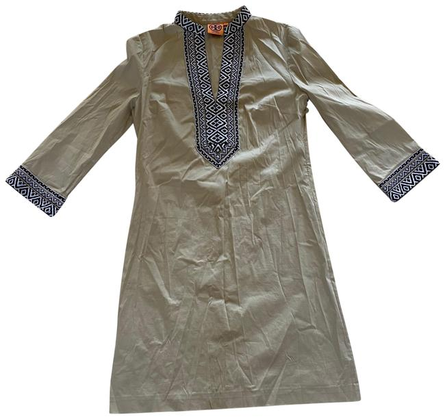 Item - Beige Black White Embroidered 3/4 Sleeve Mid-length Short Casual Dress Size 2 (XS)