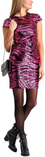 Item - Pink and Black Nat Zebra Sequin Cap-sleeve Sheath Short Night Out Dress Size 0 (XS)