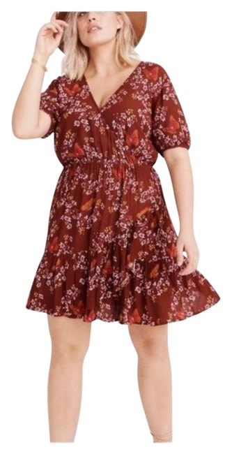 Item - Red Floral Short Casual Dress Size 2 (XS)