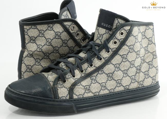 Item - Blue Gg Supreme Canvas Tessuto Hight Top Sneakers 295383 Size 10g Shoes