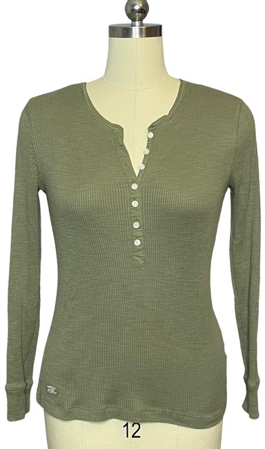 Item - Ribbed Henley Shirt Olive Green Sweater