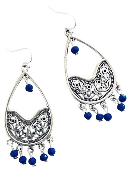 Item - Blue Cobalt Crystal Beaded Chandelier Dangling Silver Teardrop Earrings