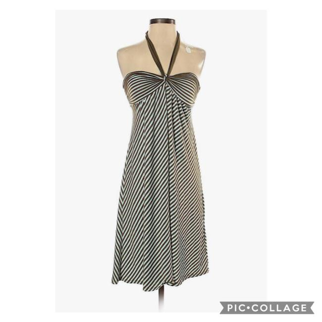 Item - Brown and Cream Soft Striped Halter Mid-length Short Casual Dress Size 6 (S)