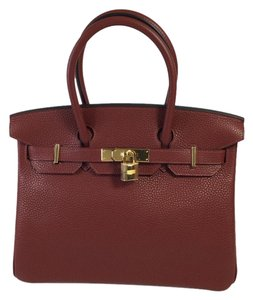 Hermès Hermes Clemence Leather Satchel in Rouge