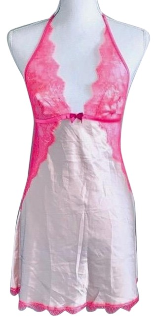 Item - Pink Satin Lace Babydoll Slip Small Short Night Out Dress Size 4 (S)