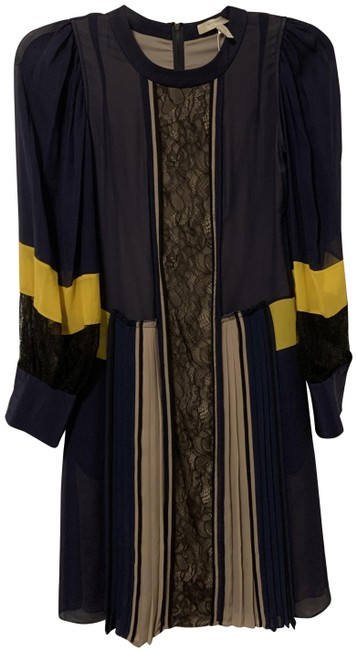 Item - Navy and Yellow Kassia Mid-length Night Out Dress Size 00 (XXS)