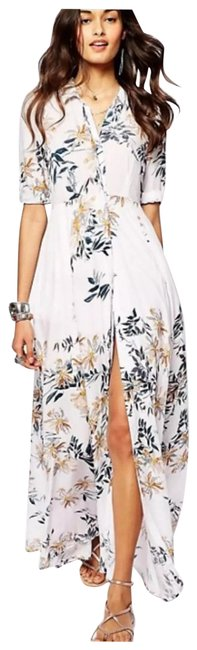 Item - White with Floral Design After The Storm Long Casual Maxi Dress Size 2 (XS)