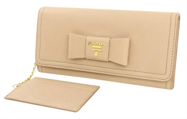 Item - Pink Beige Leather Purse with Pass Case Ribbon Ladies Wallet