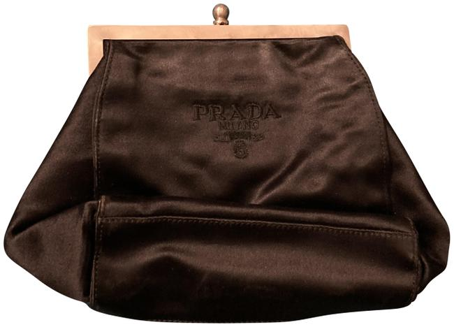Prada Marchio Black Sateen Clutch Prada Marchio Black Sateen Clutch Image 1