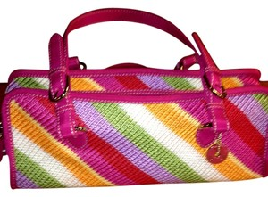 The Sak Pink Multi-colored Crochet Baguette