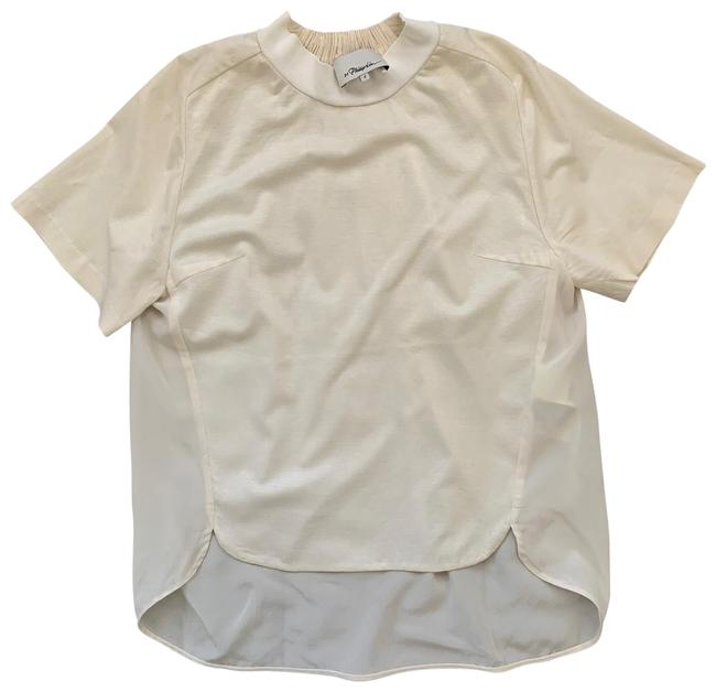 Item - Ivory Jersey T-shirt with Gathered Silk Back Blouse Tee Shirt Size 2 (XS)