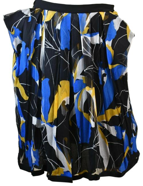 Item - Black/Multicolor Mg277s Multi Floral Chiffon Flare Zip Short 38 Italy Skirt Size 2 (XS, 26)