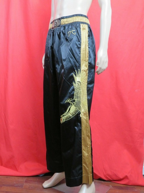 Item - Black Gold Nylon Muay Thai Eagle Sport Pants 52 Italy Groomsman Gift